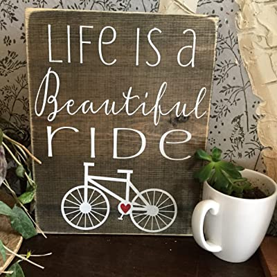 Life is a Beautiful ride - Bicycle Home Decor - Hand painted Wall Art - Bike Art - Gift for Bicyclist - Man Cave Art: Handmade