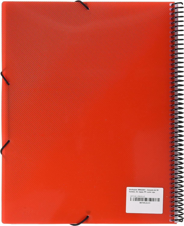 grafoplas 39832251/ A4 Tapas /20/Pockets Folder PP Red
