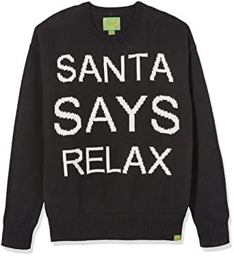 Amazon.com: Ugly Fair Isle Unisex Jacquard Santa Says Relax ...