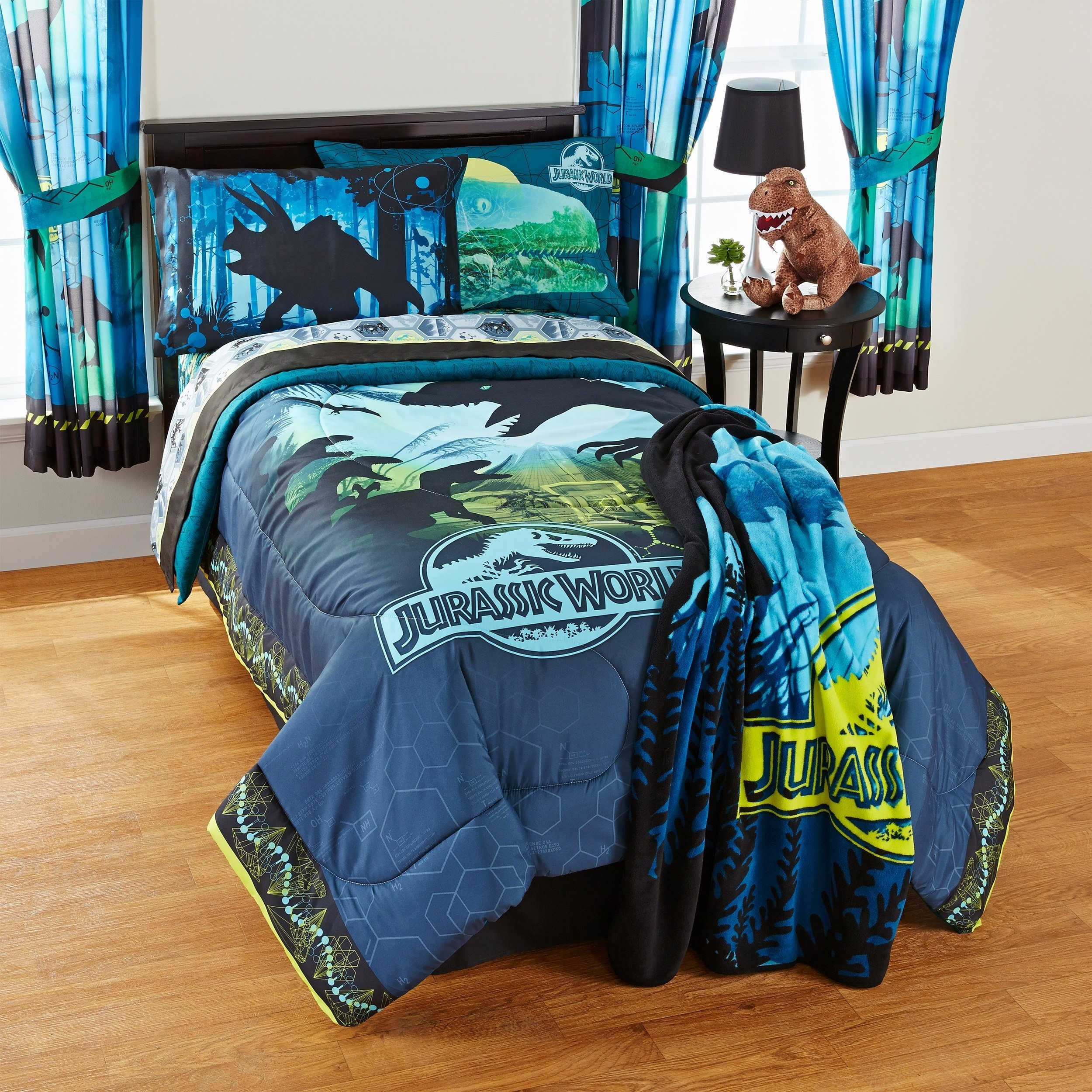 5 Piece Jurassic World Themed Comforter Set Full, Blue Black Yellow Grey Magical Movie Cartoon Character Adventurous Teen Themed Reversible Kids Bedding For Bedroom Casual, Microfiber