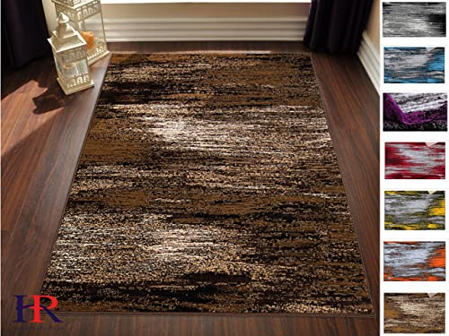 Handcraft Rugs – Chocolate Beige Gold Abstract Contemporary Modern Design Brushed Colors Area Rug