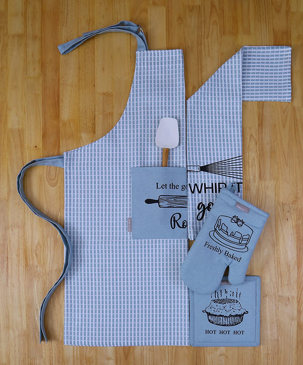 Set of Apron, Oven Mitt, Pot Holder, Kitchen Towel in a Baking Fun Design, Made of 100% Cotton, Eco-Friendly & Safe, Value Pack and Ideal Gift Set, Kitchen Linen Set By CASA DECORS