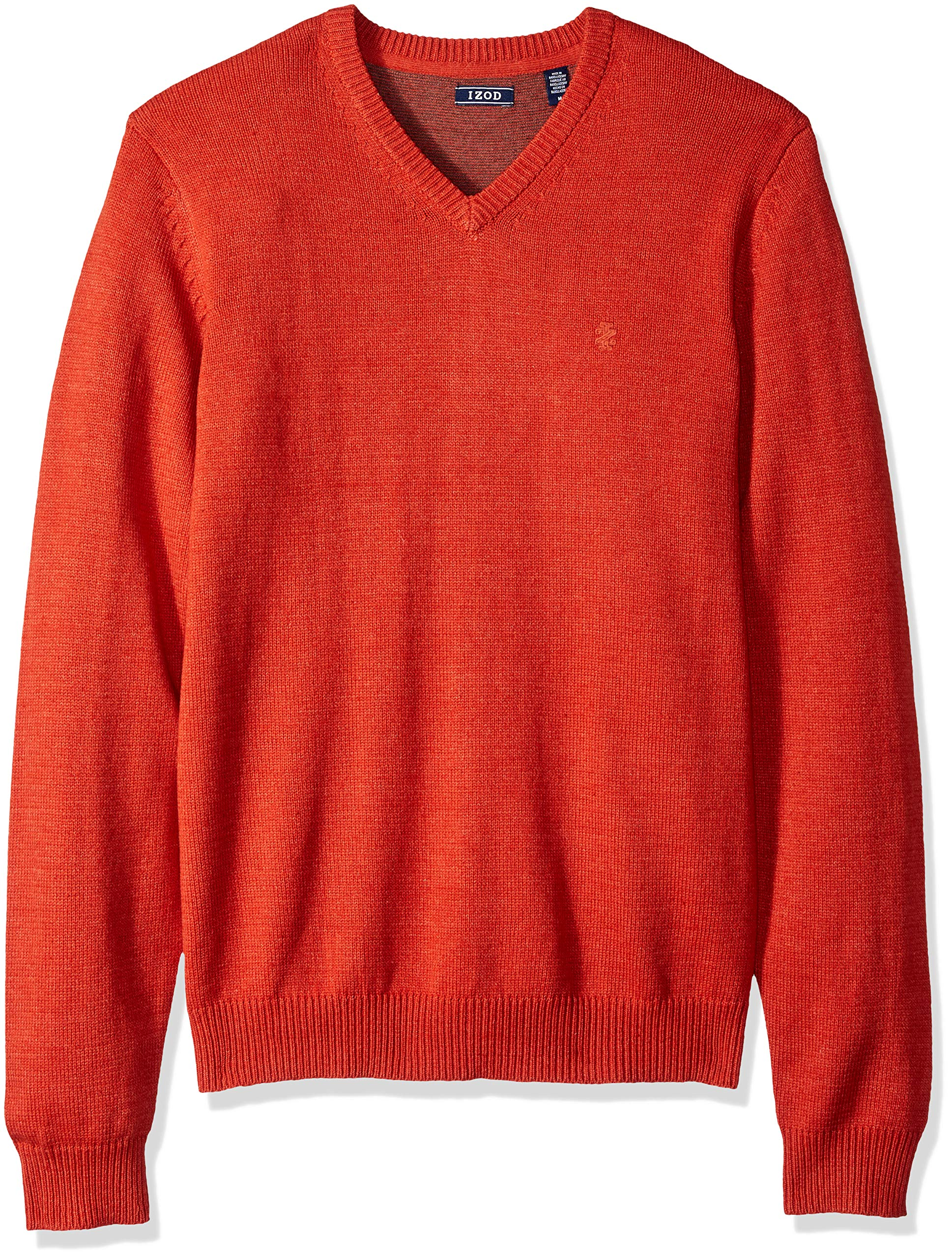 IZOD Men's Fine Gauge Solid V-Neck Sweater, Ketchup, Large
