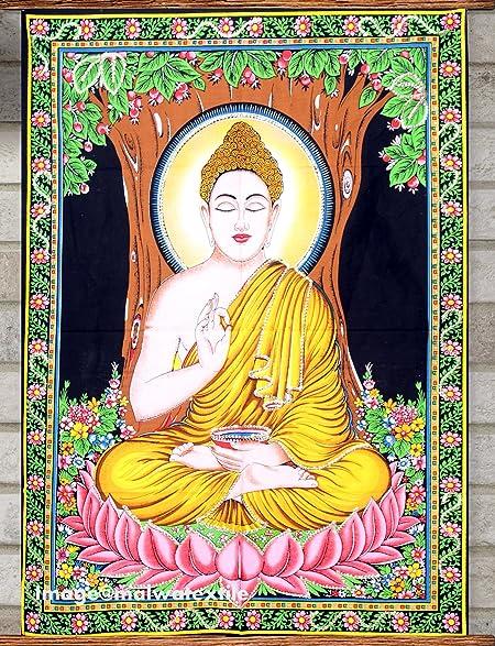 Amazon.com: Indian Lord Buddha Wall Poster Yoga Mat Tapestry Wall ...