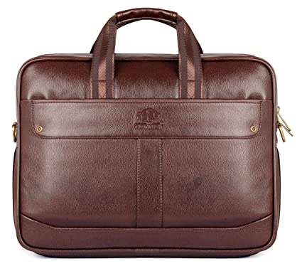 9ff639f98 The Clownfish Faux Leather 8 Ltr Brown Laptop Briefcase - Buy The Clownfish Faux  Leather 8 Ltr Brown Laptop Briefcase Online at Low Price in India - Amazon.  ...