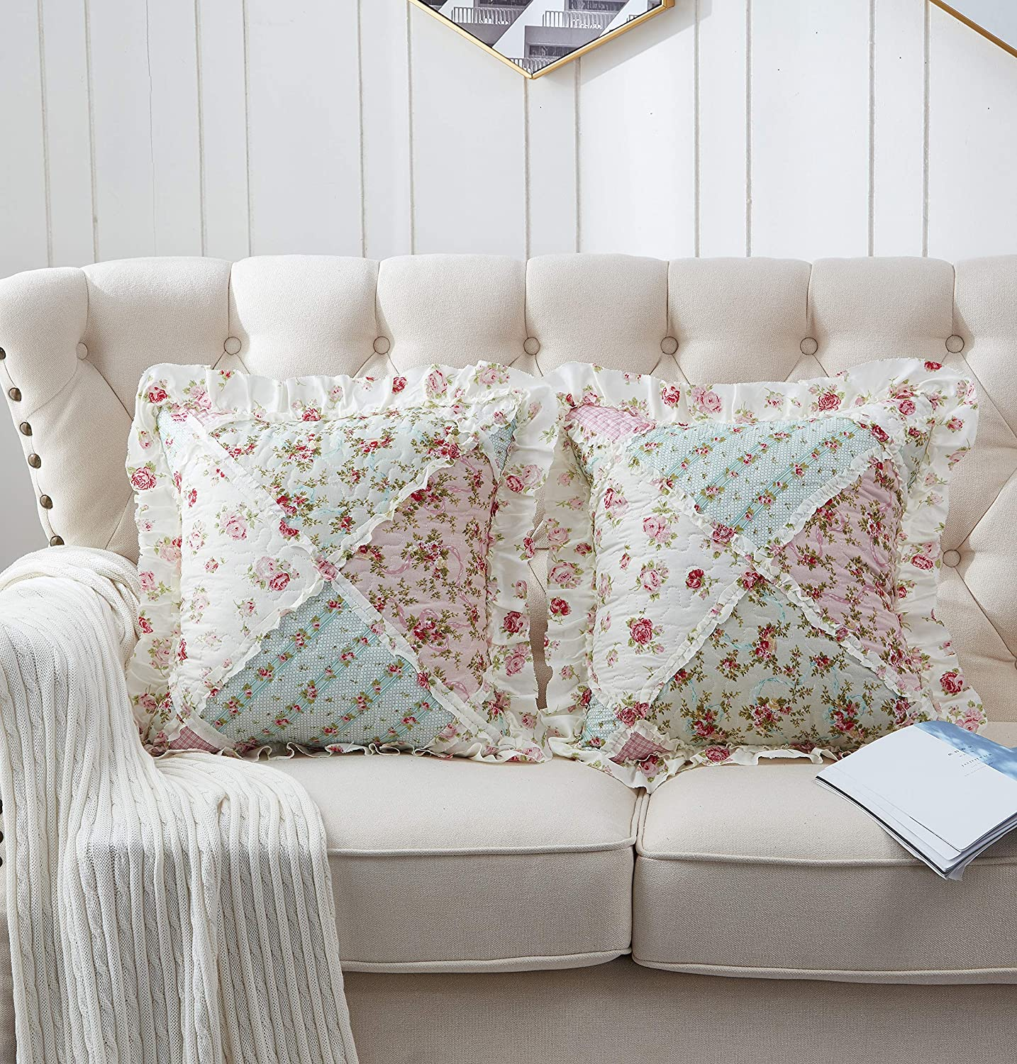 Brilliant Sunshine Patchwork Ruffle Pillow Cushion Covers Rose Floral Print Quilted Scroll Embroidery Layers with Soft Filling Cases 18 x18 inch, Pink/Green