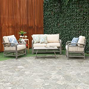 Creative Living Rowley Patio Furniture Sofa Set, Beige (Loveseat 4PC Conversation)