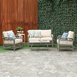 Creative Living Rowley Patio Furniture Sofa Set, Beige