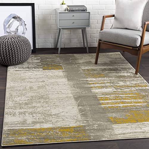 Albertha Mustard, Dark Brown and Light Gray. Modern Area Rug 7 6 x 10 6