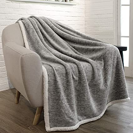 Amazon PAVILIA Premium Sherpa Melange Throw Blanket For Couch Simple Light Gray Throw Blanket