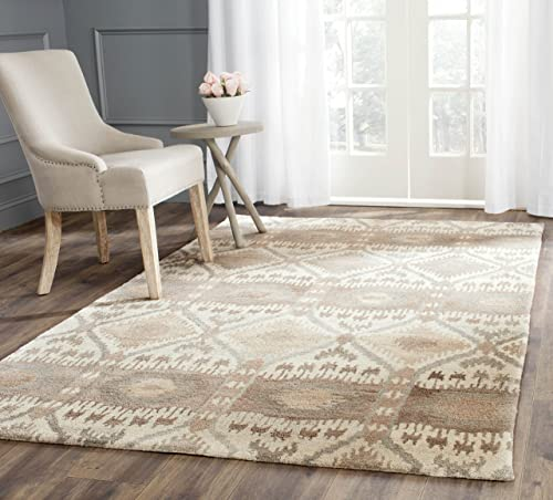 Safavieh Wyndham Collection WYD720A Handmade Natural and Multi Wool Area Rug