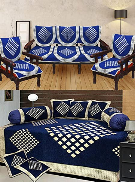 Stop N Shop Super Drawing Room Abstract Design Combo Poly Cotton Blue Color Sofa Covers And
