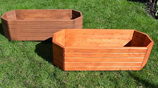 NUEVO Jardinera de acero madera Top Macetero Jardín Terraza montado D12 Color Marrón Oscuro: Amazon.es: Jardín