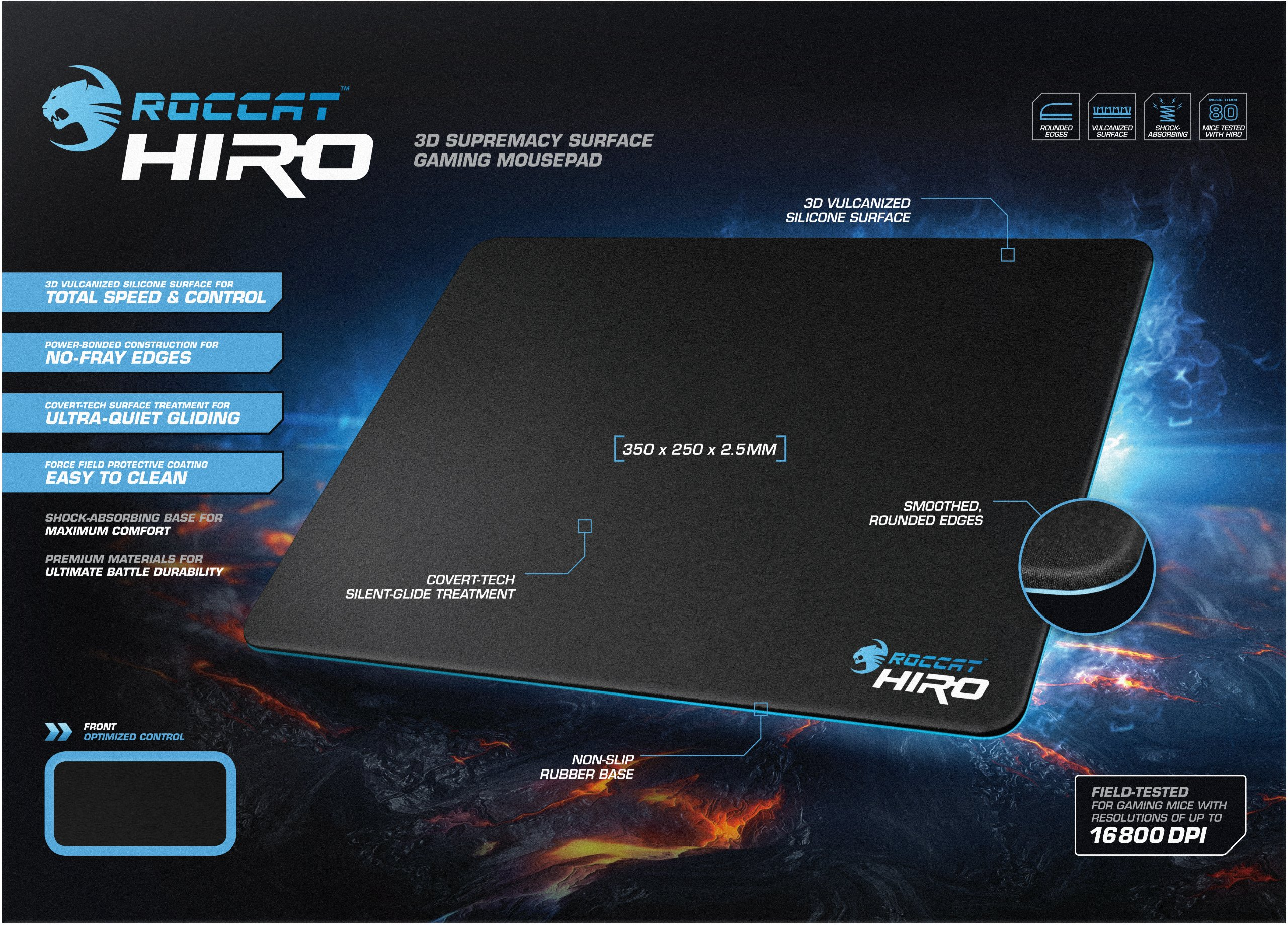 ROCCAT HIRO 3D Supremacy Surface Gaming Mousepad, Black