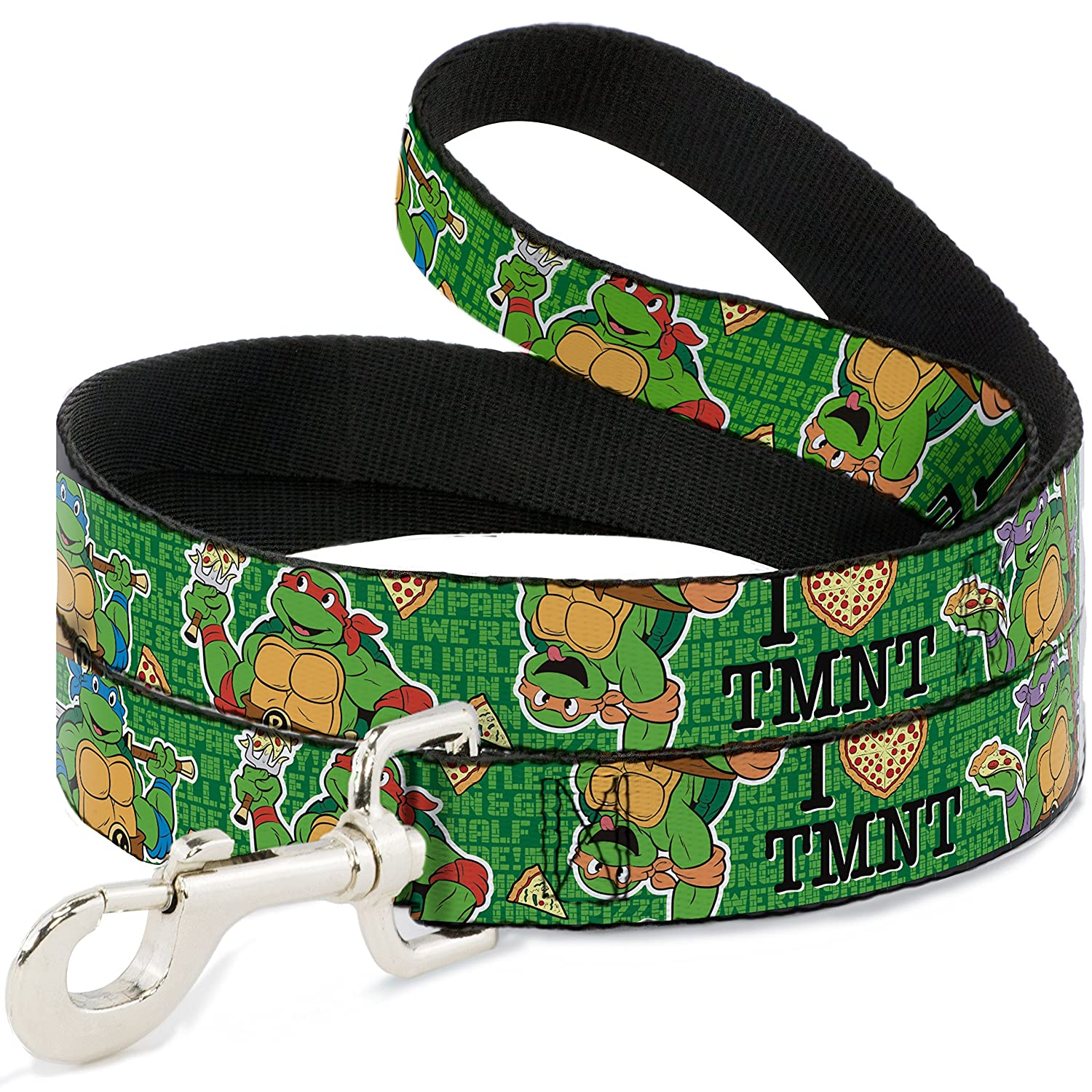 Buckle-Down I Heart TMNT Classic Turtles & Pizza Green  Dog Leash, 6'