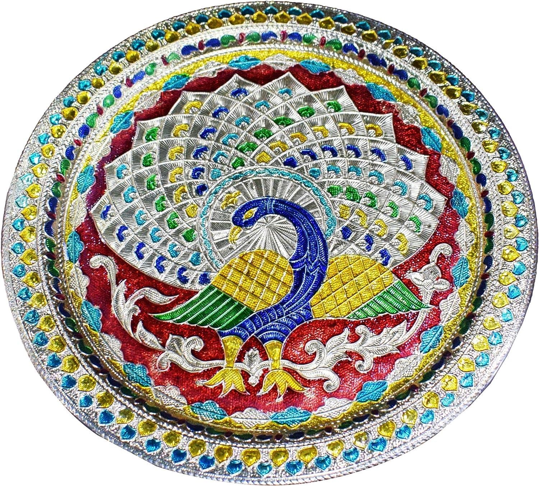 Karwa Chauth/Karva Chauth Decorative Puja Thali Platter with Beautiful Peacock Design for Hindu Temple Rituals, Mandir Accessory - Diwali Gift,Pujan, Deepawali Karwachauth Indian Gift Items
