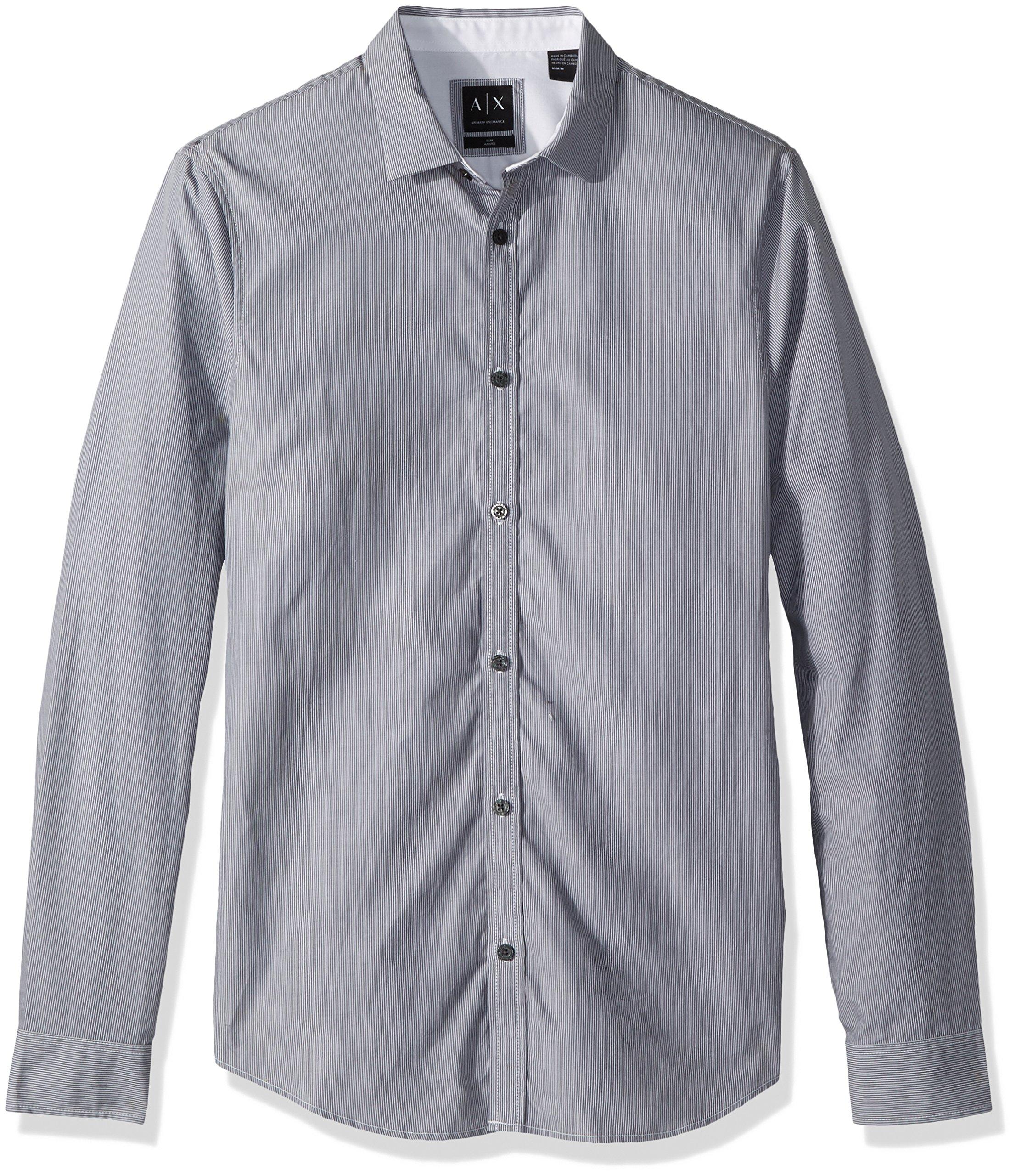 A|X Armani Exchange Men's Fine Striped Blue Button Down, Black/White, M