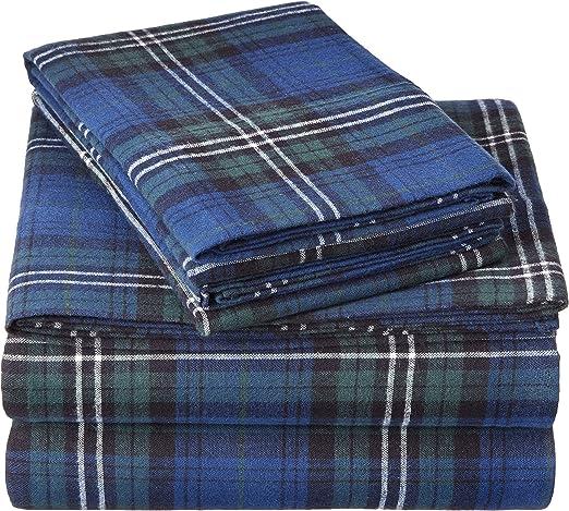 Amazon Com Pinzon Plaid Flannel Bed Sheet Set Twin Blackwatch Plaid Home Kitchen