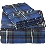 Pinzon Plaid Flannel Bed Sheet Set - California King, Blackwatch Plaid