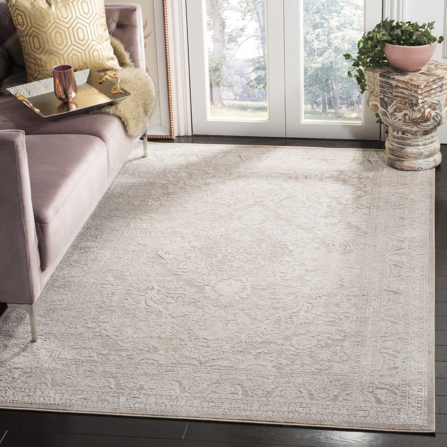 Safavieh Reflection Collection RFT668A Vintage Distressed Area Rug, 6' x 9', Beige / Cream