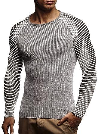 b1b4116239e2 LEIF NELSON Herren Strickpullover   Strick-Pullover mit Rundkragen   Männer  Pulli Slim Fit