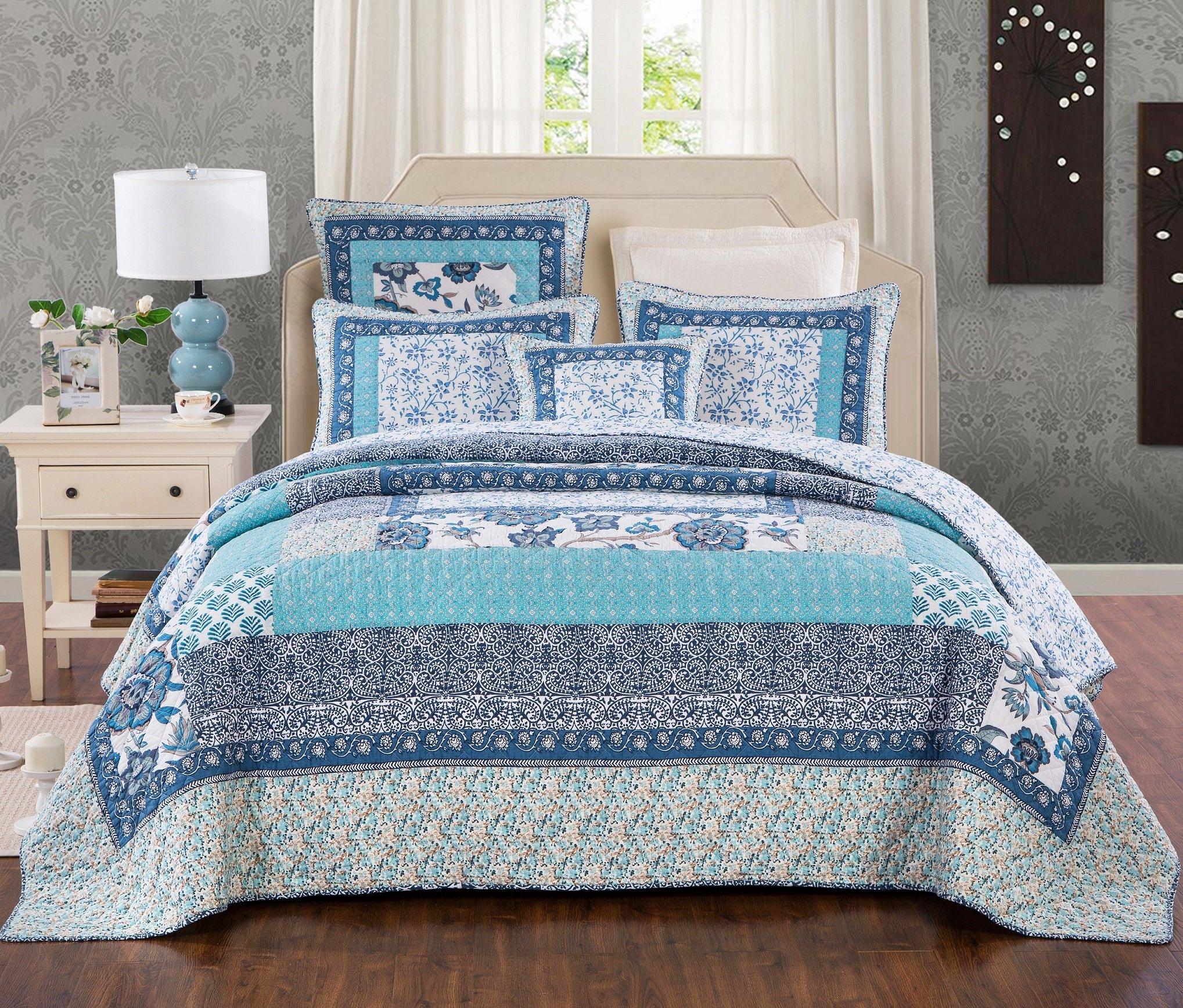 Tache Blue Patchwork Quilt Bedspread - Blue Elegance - 2 Piece Cotton Floral Reversible Coverlet Bedding Set - Twin