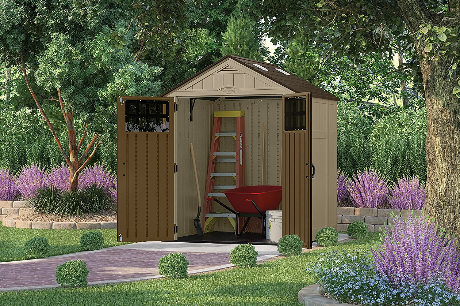 amazoncom suncast bms6510d 6 feet by 5 feet blow molded storage shed garden outdoor - Garden Sheds 6 X 5