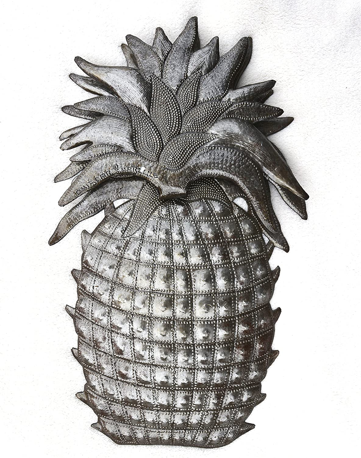 Pineapple, Welcome Home Wall Hanging Sign, House Warming Decoration Plaques, Handmade in Haiti 9 in. X 14.25 in.
