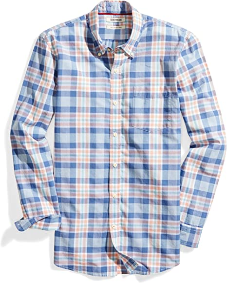 4a12f6f51560 Amazon Brand - Goodthreads Men's Slim-Fit Long-Sleeve Lightweight Madras  Plaid Shirt