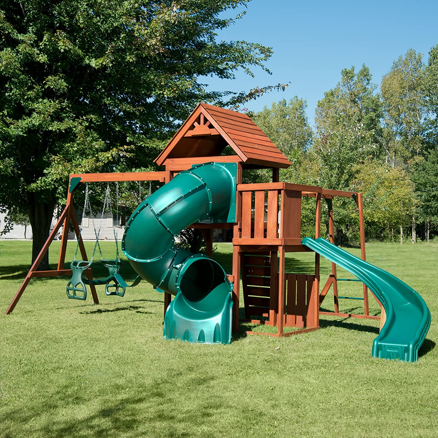 Amazon Swing N Slide Grandview Twist Play Set with Two Slides