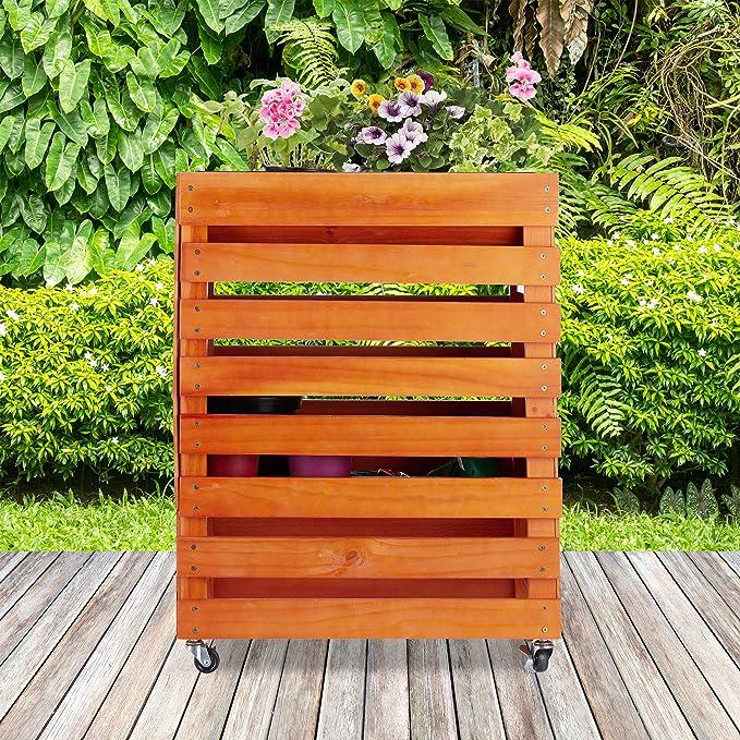 Relaxdays, Natur Hochbeet aus Holz, mit Rollen, Ablage