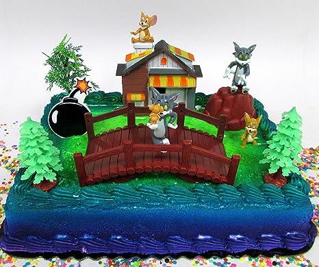 Surprising Amazon Com Tom And Jerry 11 Piece Birthday Cake Topper Set Birthday Cards Printable Trancafe Filternl
