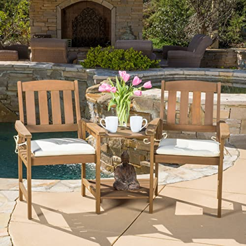 Las Brisas Outdoor Wood Adjoining 2-Seater Chair