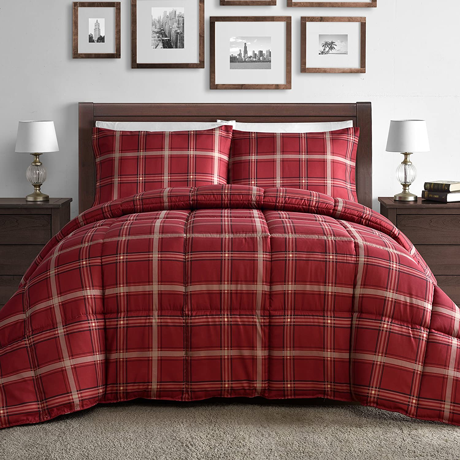 Comfy Bedding Luxurious Rose Red Plaid Down Alternative 3 Piece Comforter Set (King, Red)