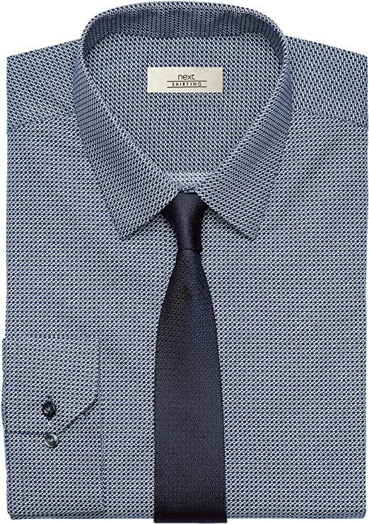 next Hombre Conjunto De Camisa Estampada Y Corbata Azul Marino ...