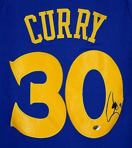 cheaper de0a1 66b7b Stephen Curry Golden State Warriors Signed Autographed Blue ...