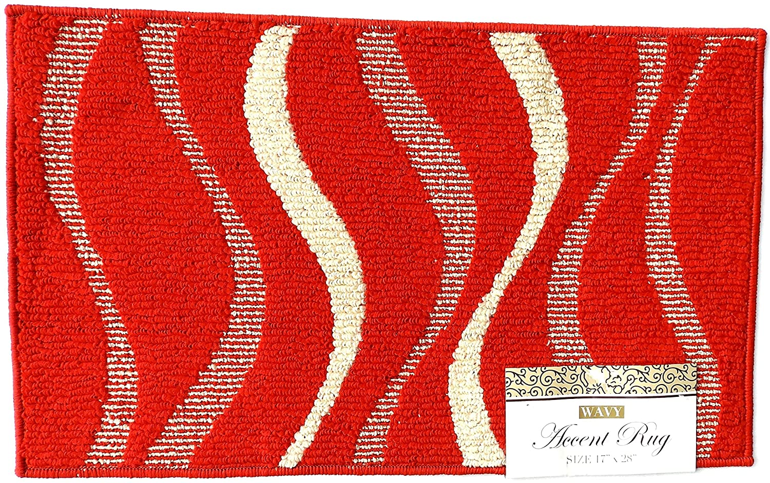Accent Rug Wavy Design Brick Red With Beige Waves 17' x 28' Machine Washable Latex Backing Dependable Industries inc 1700Red