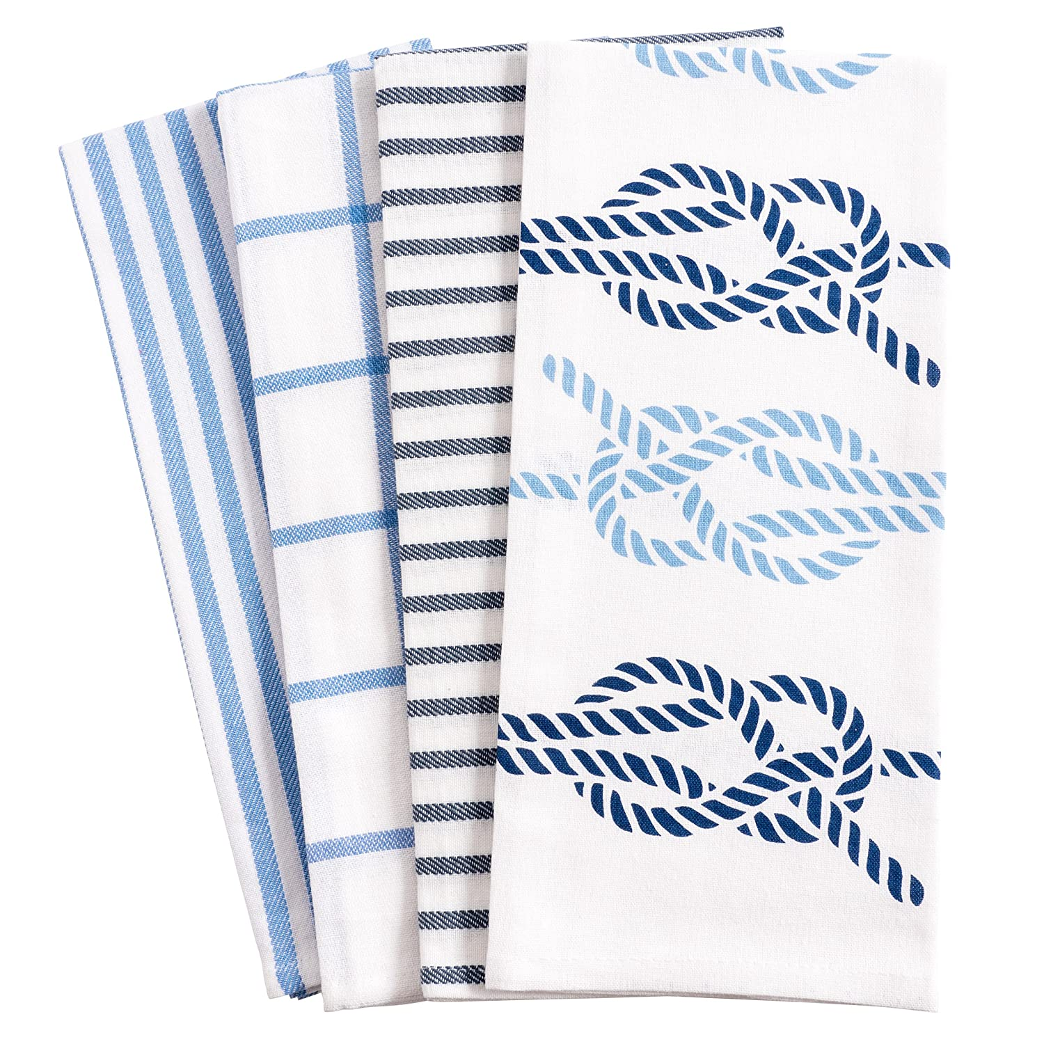 KAF Home Pantry Nautical Knots Kitchen Dish Towel Set of 4, 100-Percent Cotton, 18 x 28-inch