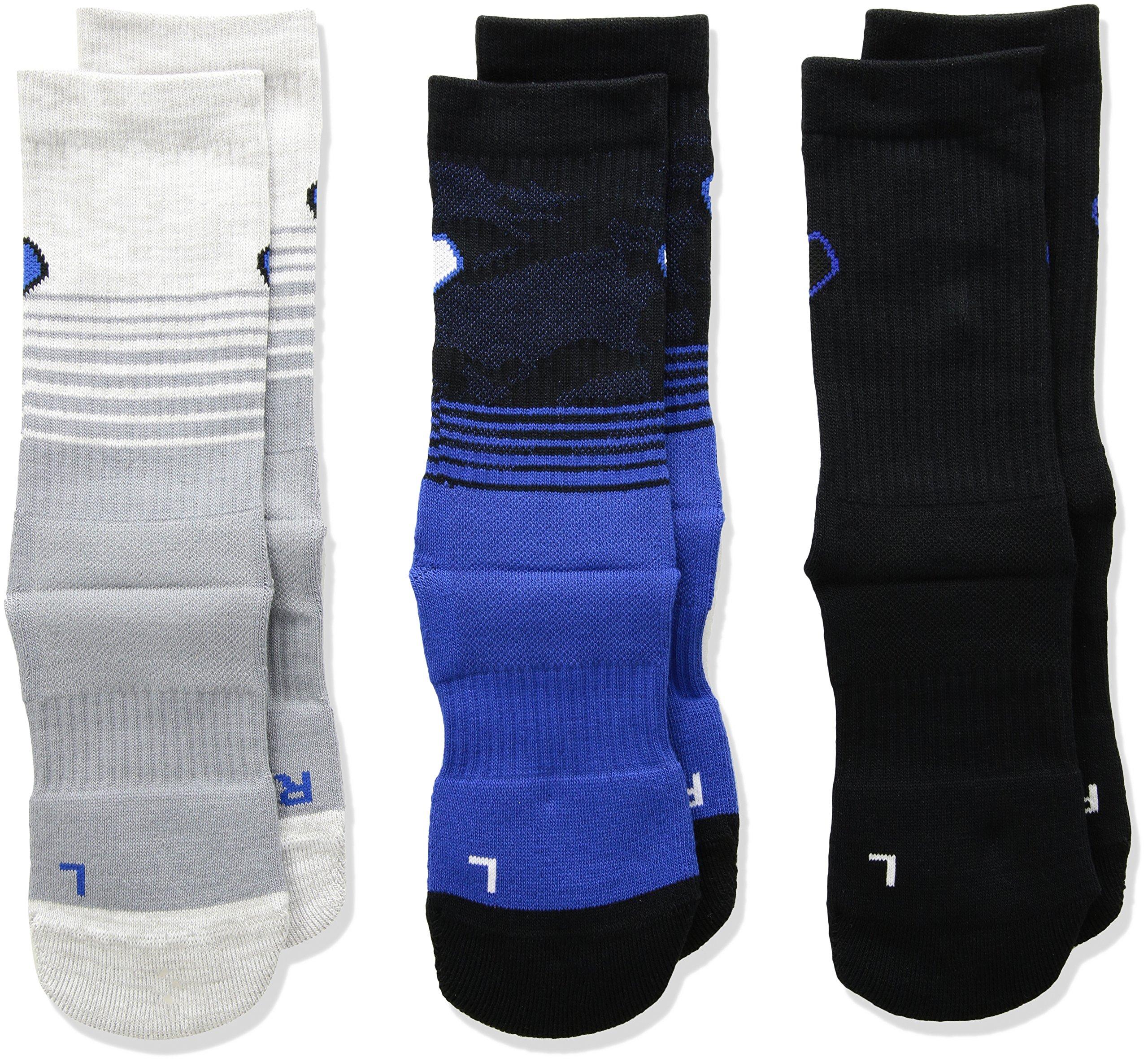 Under Armour Boy`s UA Phenom Crew Socks 3 Pack (Youth Medium (Youth Shoe Size 4Y - 8Y), Black (1299805-967) / Heather Grey/Blue) by Under Armour
