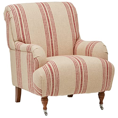 Stone Beam Aubree Farmhouse Accent Arm Chair, 32 W, Striped Red Linen