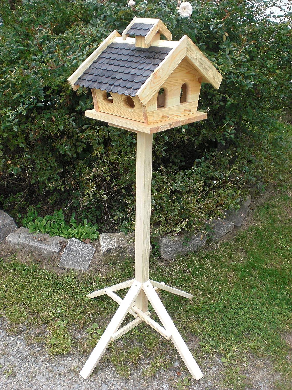 Vogelhaus mit Ständer-(V11+S1)XXL Schwarz-Vogelhäuser Vogelfutterhaus Vogelhäuschen-aus Holz- Schreinerarbeit- Handarbeit vom Schreiner