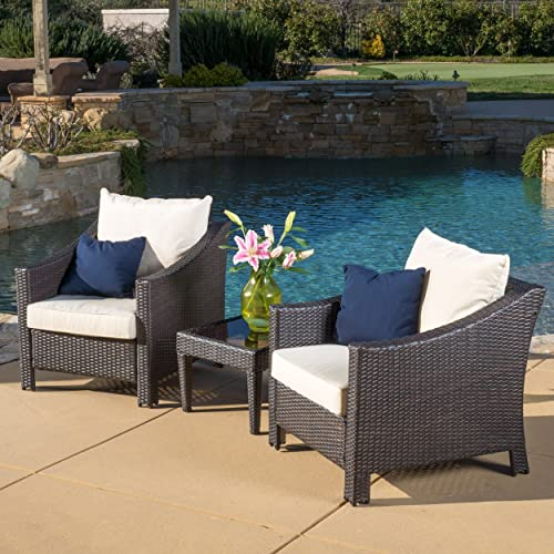Great Deal Furniture Jones Outdoor 3-Piece Brown Wicker Bistro Set with Cushions