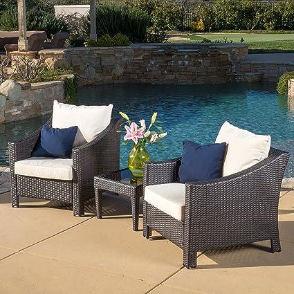 Amazon.com: Muebles de mimbre para jardín, 3 unidades ...