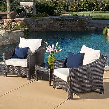 Amazon Com Great Deal Furniture Jones Outdoor 3 Piece Brown Wicker