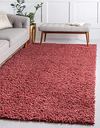 Unique Loom Davos Shag Collection Contemporary Soft Cozy Solid Shag Poppy Area Rug 5' 0 x 8' 0