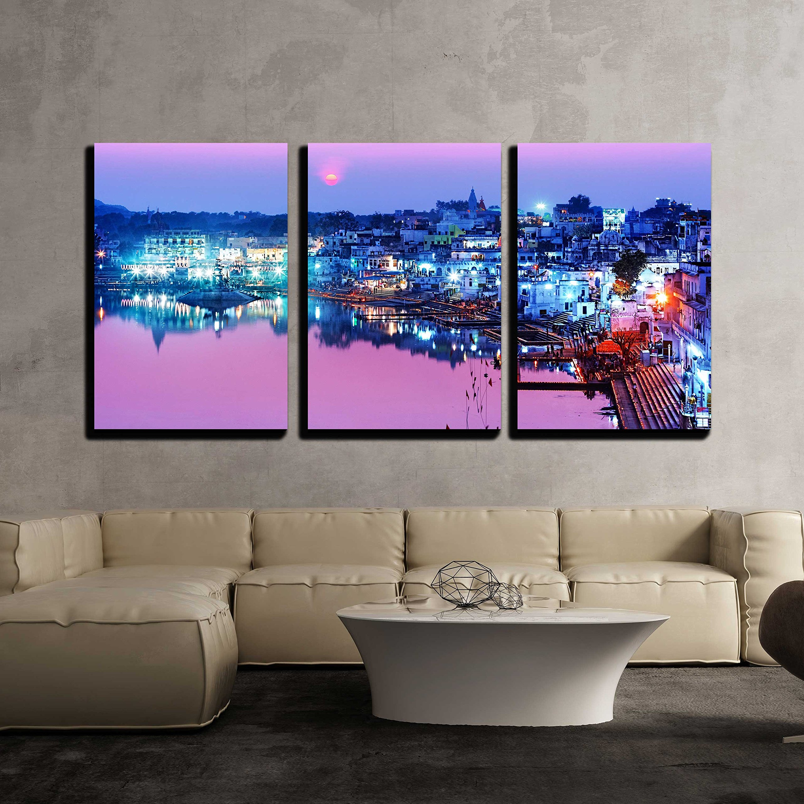wall26 - 3 Piece Canvas Wall Art - Pushkar Lake at Night Pushkar, Rajasthan, India, Asia - Modern Home Decor Stretched and Framed Ready to Hang - 16''x24''x3 Panels