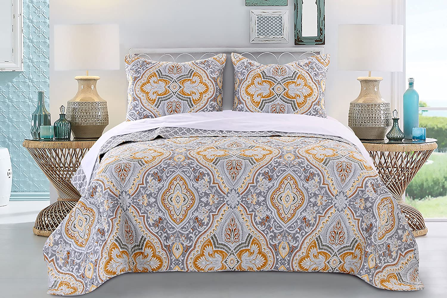 Greenland Home 3 Piece Valhalla Quilt Set, King, Gold
