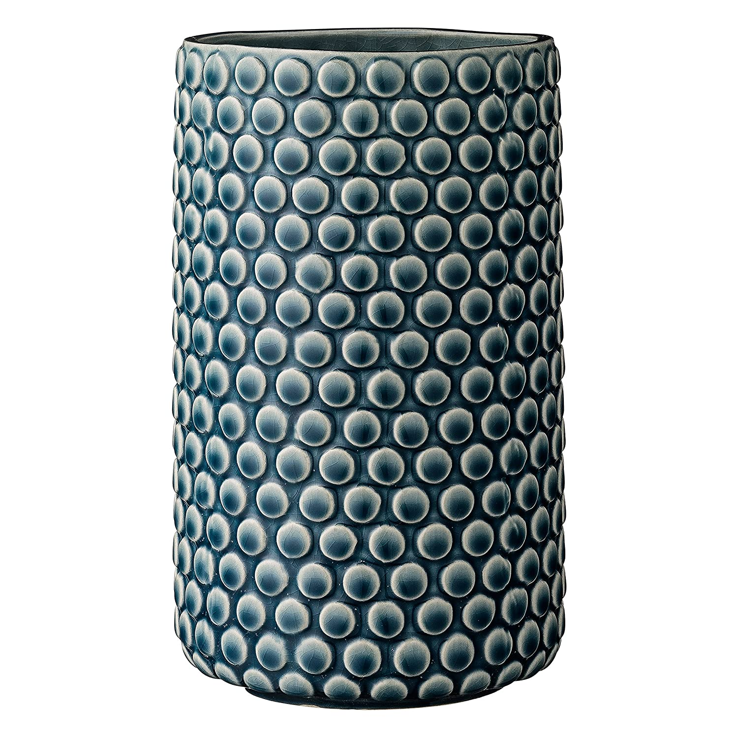 Bloomingville Teal Ceramic Vase with Polka Dot Design