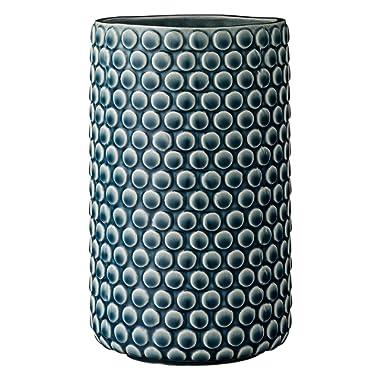Bloomingville Teal Ceramic Vase with Polka Dot Design