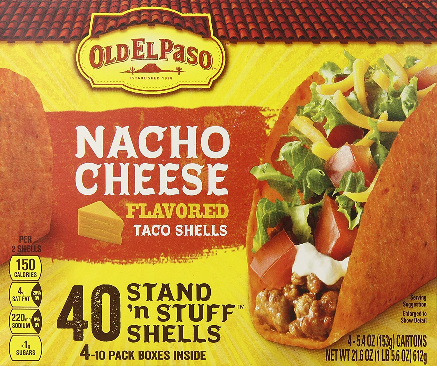 Old ElPaso Nacho Cheese Taco Shells, 40 Count